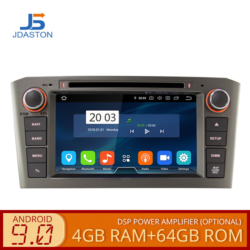 JDASTON 2 DIN <font><b>Android</b></font> 9.0 Car DVD Player For <font><b>Toyota</b></font> <font><b>T25</b></font> Avensis 2003-2008 Octa Core 4G+64G Car Radio Multimedia GPS Stereo Audio image