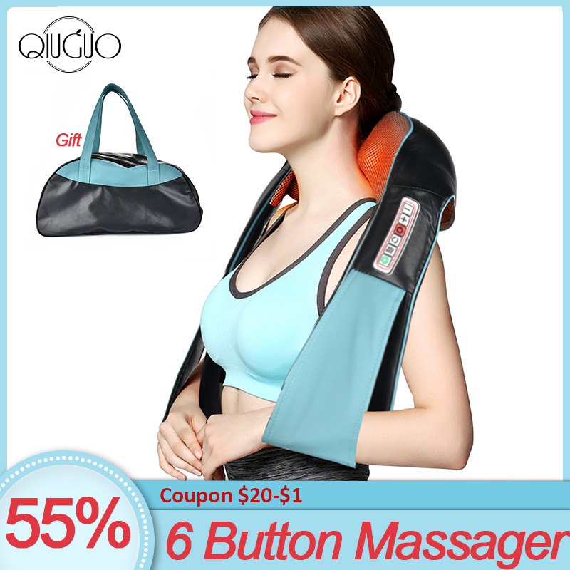U Shape Electrical Shiatsu Back Neck Shoulder Body Massager  Home Car Infrared Heated Kneading Therapy Massagem