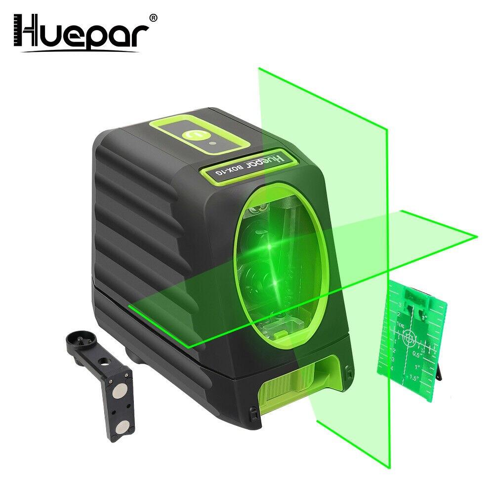 Huepar BOX-1G al aire libre 150 grados 510nm láser de nivelación automática láser Vertical Horizontal Rayo verde Nivel de láser de línea cruzada Nueva Luz LED de discoteca DJ RGB, luz de efectos de escenario, proyector láser con Control remoto, luces con Control de sonido inteligente para Bar KTV Party