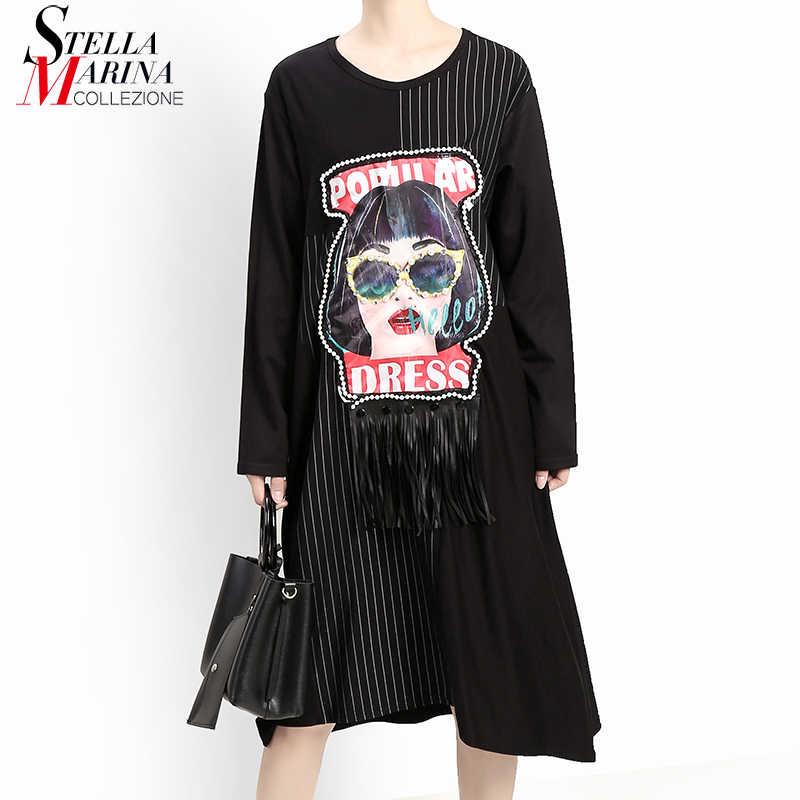 Новинка, японский стиль, новинка 2019, Женское зимнее черное платье и искусственная кожа, бахрома, мультяшная нашивка, в полоску, с длинным рукавом, женское платье Харадзюку, халат 5650