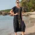 Neue Schwarz Baumwolle Bestickt Maxi Strand Kleid Abdeckung ups Robe de Plage Badeanzug cover up Böhmischen Lange Kleid Bikini Abdeckung up