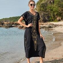 Nieuwe Zwarte Katoenen Geborduurde Maxi Strand Jurk Cover Ups Robe De Plage Badpak Cover Up Bohemian Lange Jurk Bikini Cover up