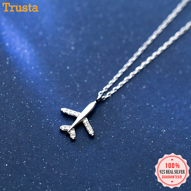 Trusta 100% 925 Sterling Silver Necklace Jewelry Travel Plane 925 Pendant Short Necklace Gift For Women Girl Teens DS1344 image