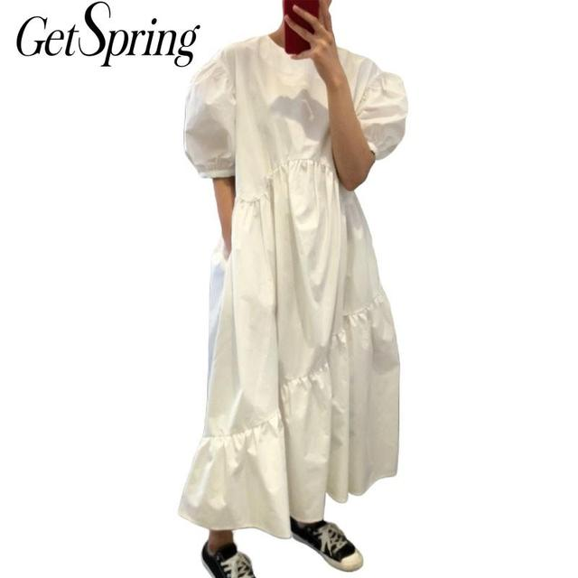 Getspring Women Dress Cotton Casual White Black Dresses Plus Size Asymmetry Puff Sleeve Long Loose Irregular Dresses Summer 2020 1