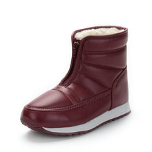 купить Unisex women snow boots ankle pu leather 2019 winter boots women plush warm fashion Zip non-slip plus size 36-44 high quality дешево