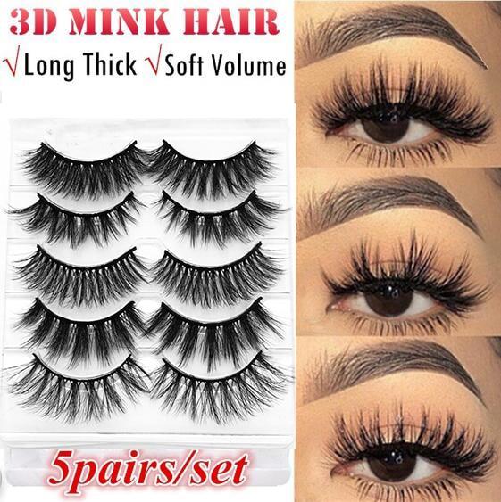 5 Pairs 3D Faux Mink Hair False Eyelashes Wispies Long Cross Lashes Handmade Eye Makeup Tools