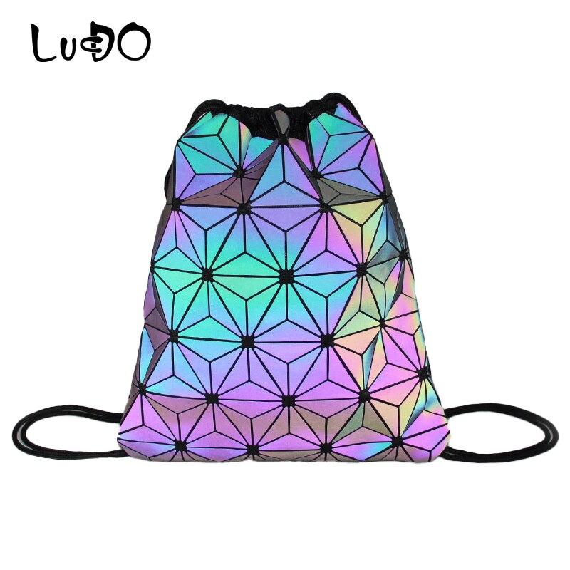 LUCDO Women Drawstring Backpacks Luminous Geometric Bagpack Female Holographic School Bag For Teenage Girls Folding Mochila Sac