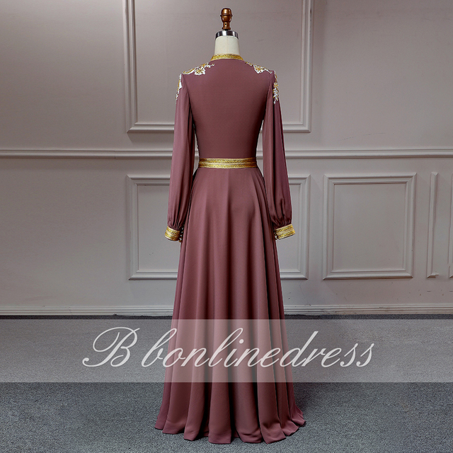 Bbonlinedress Moroccan Caftan Evening Dresses Embroidery Appliques Long Evening Dress Full Sleeve Arabic Muslim Party-Dress 3