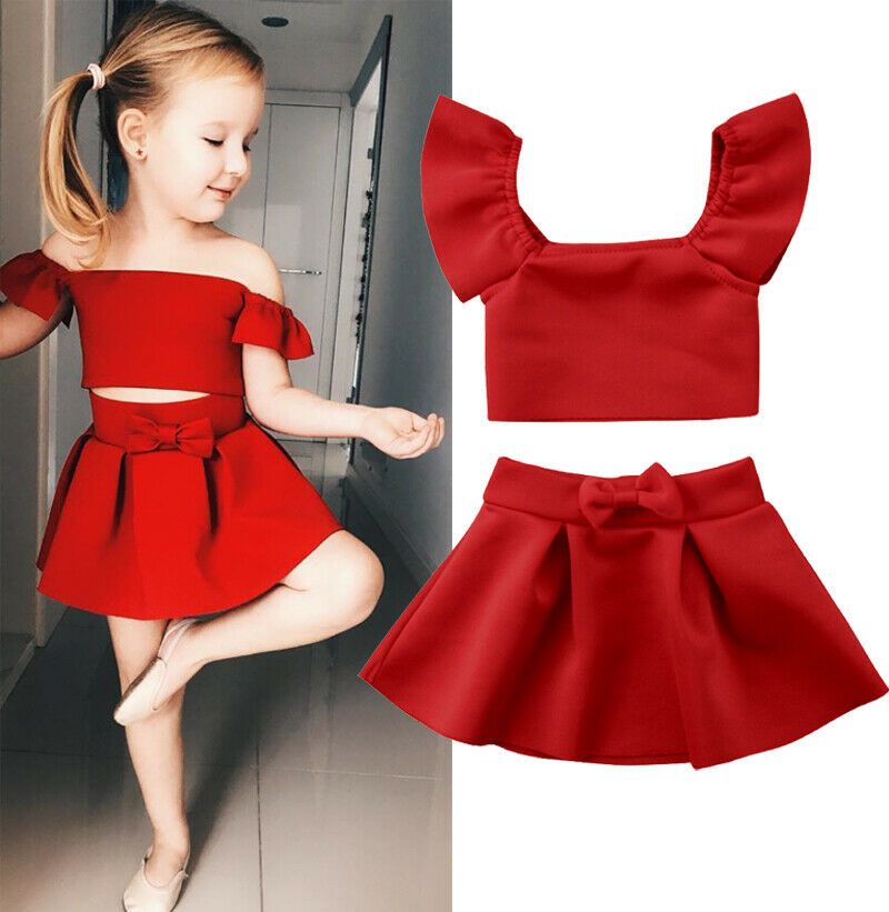 Red Crop Off Shoulder Tops Bow Skirt Children Girl Clothing Summer Clothing Outfits 2Pcs Newborn Kids Baby Girls Clothes Set