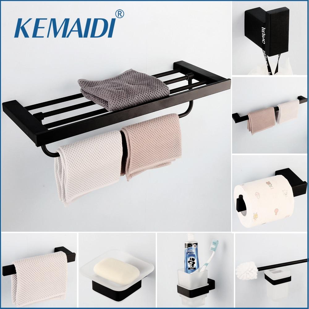 KEMAIDI SUS 304 Stainless Steel Bathroom Hardware Set Black Matte Paper Holder Toothbrush Holder Towel Bar Bathroom Accessories