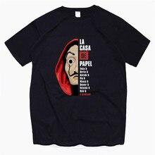 Mens La Casa De Papel Funny Print T Shirt Men Cartoon Navy Cotton Unisex New Fashion Tshirt Graphic Tees