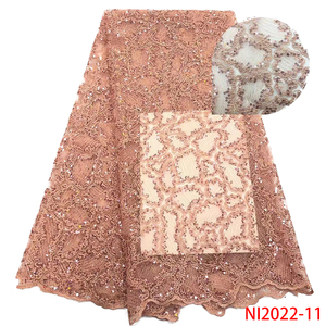 Image 5 - Baby Pink Lace Fabrics Sequence Lace Fabric African Tulle Lace Fabric for Evening Party Dresses Sequins Lace Fabric NI2022 6