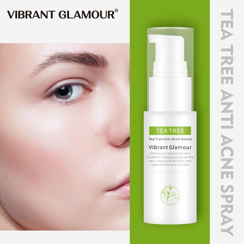 VIBRANT GLAMOUR Tea Tree Oil Acne Treatment Face Serum Anti Acne Scar Removal Shrink Pores Cream Whitening Anti-Aging Skin Care