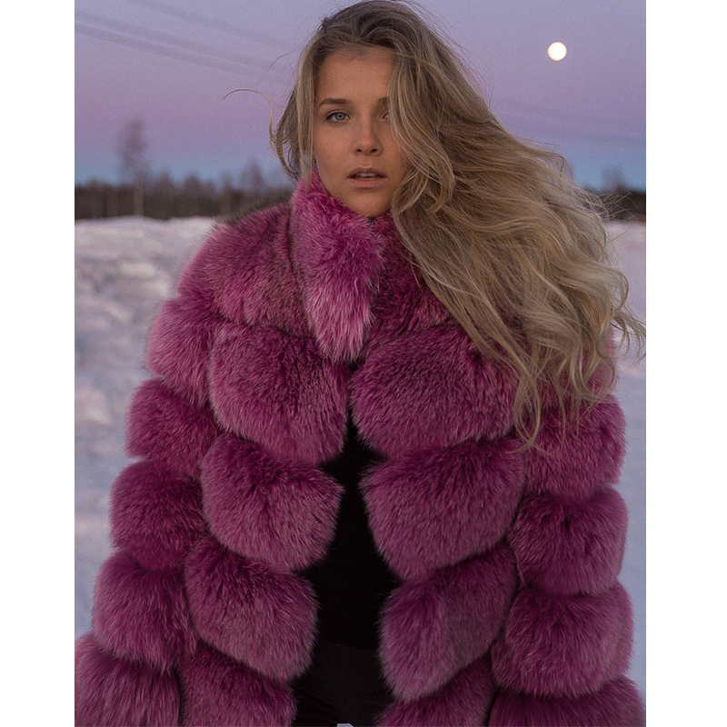 BFFUR Real Fur Fox Coat For Womens Top Quality Natural Fur Coat Thick Warm Outwear Genuine Leather Overcoat Natrual Fur Coats