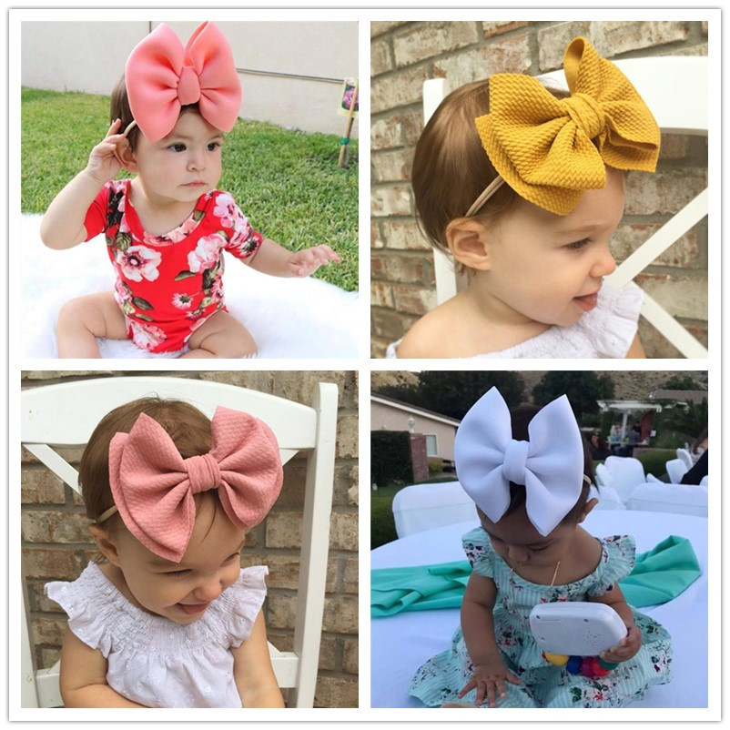 Nylon Puff Bow Headwrap Baby Headband Baby Girl Headbands For Girls Bandeau Bebe Fille For Toddler Infant 0-3 Years