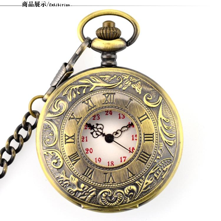 Antique Steampunk Vintage Hollow Bronze Gear Hollow Quartz Pocket Watch Necklace Pendant Clock Chain Men's Women