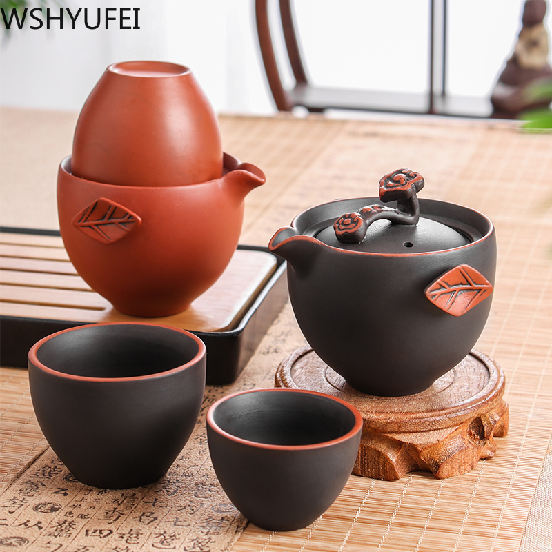 Travel China Kung Fu Tea Set with infuser One pot and two cups Portable Teapot Coffee Cup Drinkware for Outdoor Camping Tea set