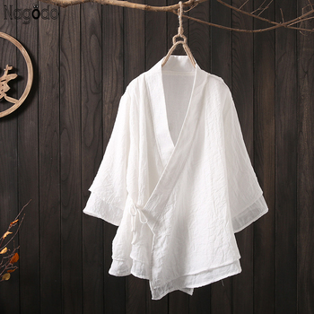 Nagodo chińska bluzka 2020 wiosna bawełniana pościel na lato chiński Top Retro Zen herbata kardigan Hanfu płaszcz ulepszona chińska koszula tanie i dobre opinie COTTON Linen Topy WOMEN Czesankowe Chinese Blouse Top