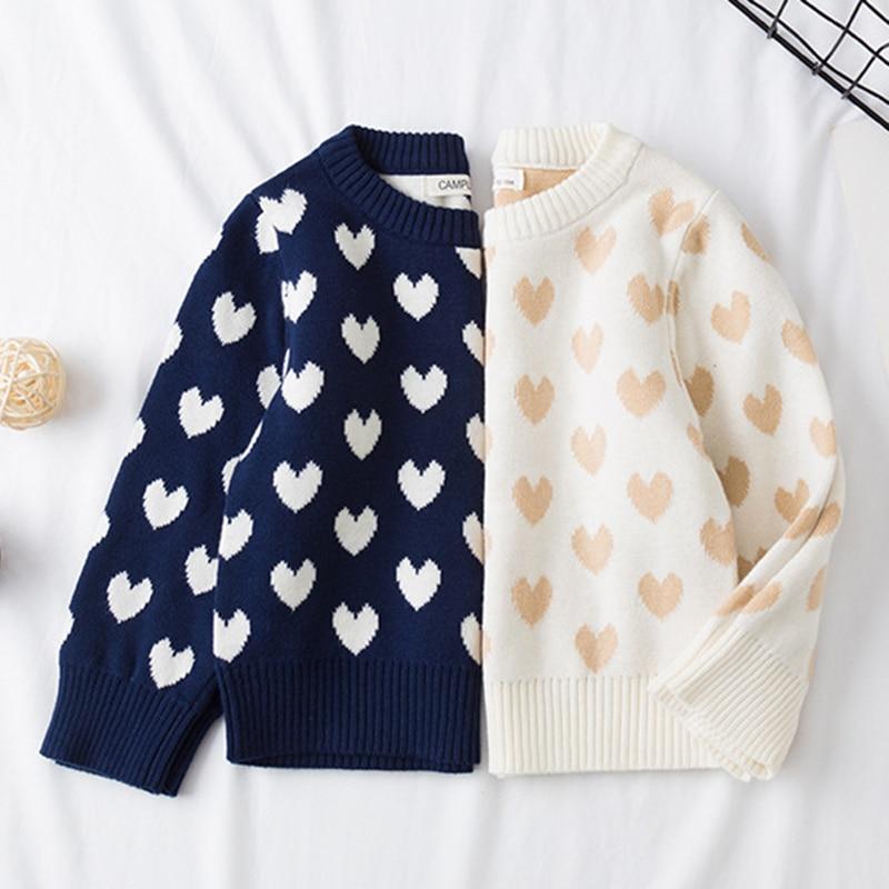1-6Yrs New 2020 Boy Girl Long Sleeve Loving Heart Knitted Sweater Autumn Winter Boys Girls Sweaters For Baby Girls Kids Sweater 2