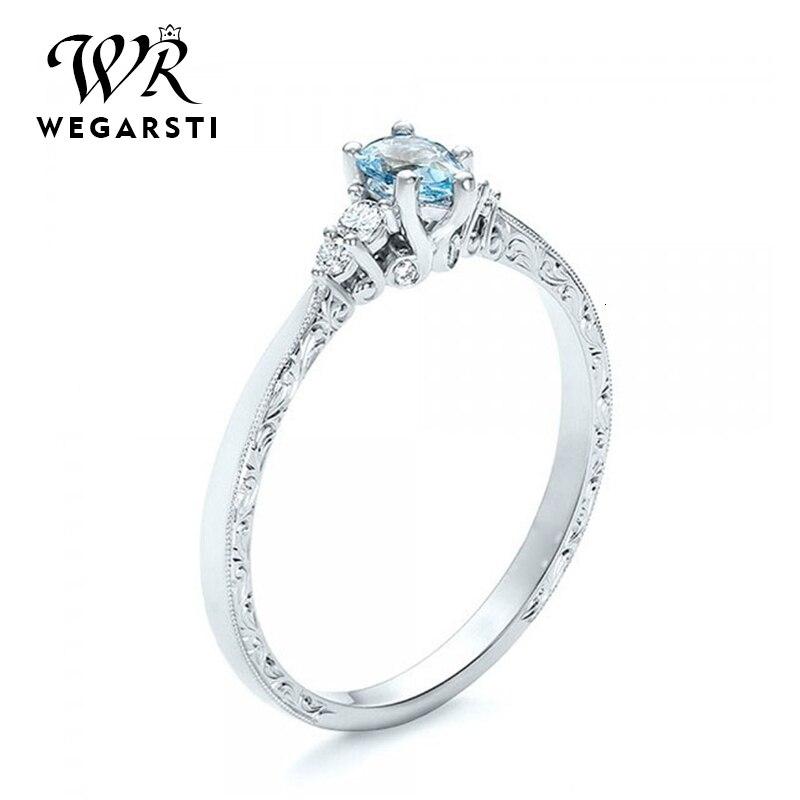 WEGARASTI, серебро 925, Ювелирное кольцо, аквамарин, модные вечерние, круглые, классические, 925 пробы, серебряные кольца, ювелирное изделие для женщ...