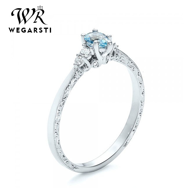 WEGARASTI Silver 925 Jewelry Ring Aquamarine Trendy Party Round Classic 925 Sterling Silver Rings Jewelry Woman Engagement Gift