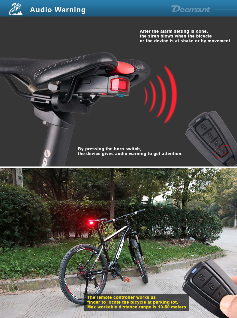 Bicycle Rear Light + Anti-theft Alarm USB Charge Wireless Remote Control LED Tail Lamp Bike Finder Lantern Horn Siren Warning A6