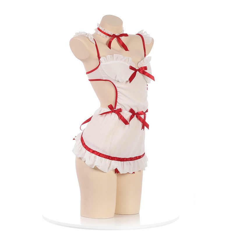 Japanse Lolita Cartoon Uniform Pak Cosplay Verpleegster Kostuum Erotische Lingerie Babydoll Thong Set Backless Meid School Meisje Kostuum