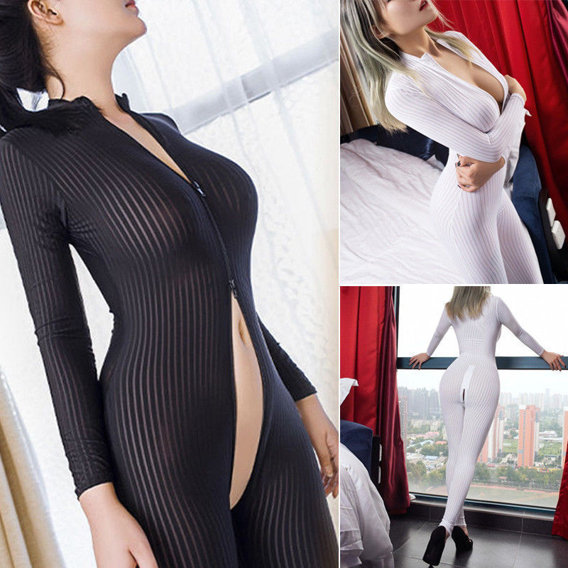 2020 Women Black Striped Sheer Bodysuit Smooth Fiber 2 Zipper Long Sleeve Jumpsuit XS-8XL