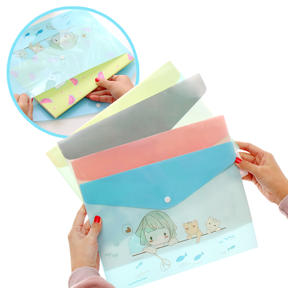 Korean Paper Bags A4 PVC Cute Cartoon Animals Meng Was A Semi-permeable Paper Bag Student Folders