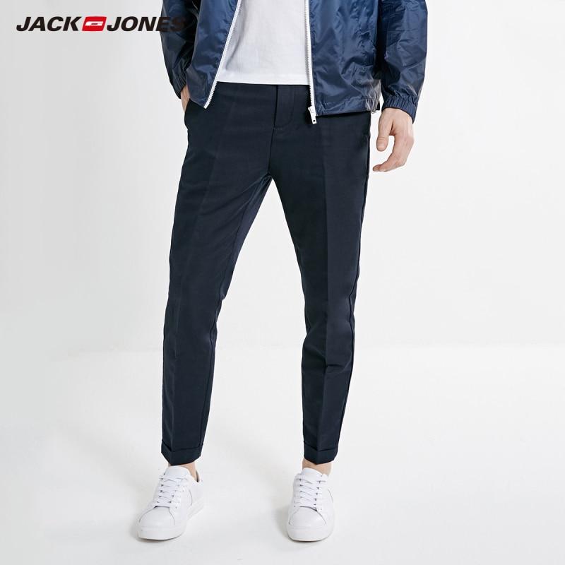 JackJones Men's Slim Fit Linen Tapered Tight-leg Crop Basic Pants| 219214512