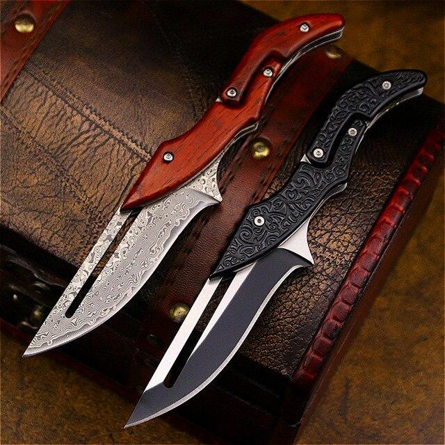 DEHONG  Damascus Mechanical folding Knife Fashion D2 steel folding knife outdoor folding knife pocket knife jungle hunting knife 5
