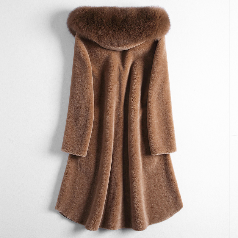 Real 2020 Fur Coat Women Sheep Shearing Wool Autumn Winter Jacket Woman Real Fox Fur Collar Manteau Femme Hiver KJ1062