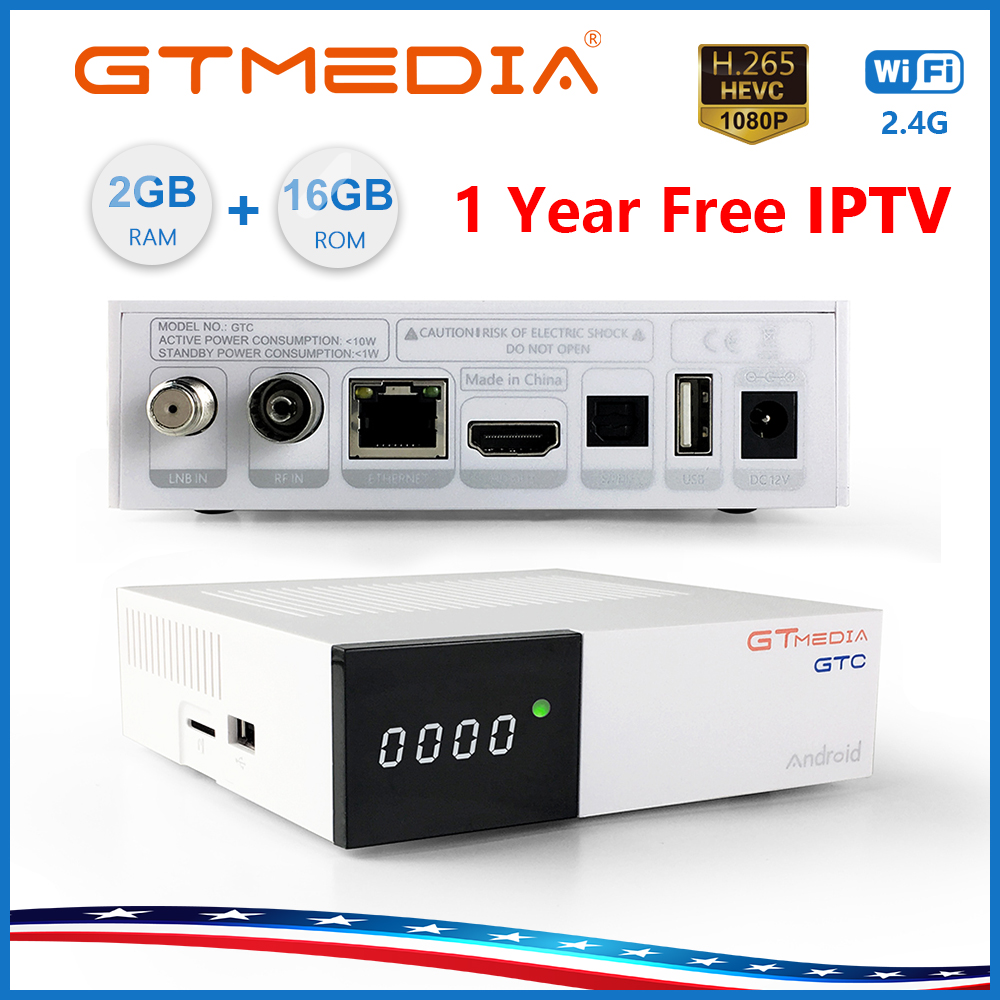 Freesat/GTmedia GTC Satellite Receiver Android 6.0 DVB-S2/T2/C ISDB-T Support 4K/3D/H.265/MPEG-4 Movies Built-in Wifi With IPTV