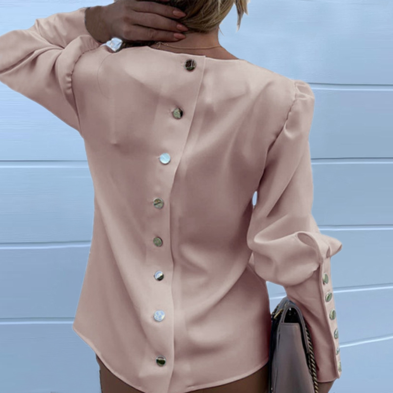 H1f14fb9b98b344389df0a3cccc31a1e2o - JODIMITTY Puff Shoulder Blouse Shirts Office Lady New Autumn Metal Buttoned Detail Blouses Women Pineapple Print Long Sleeve Top