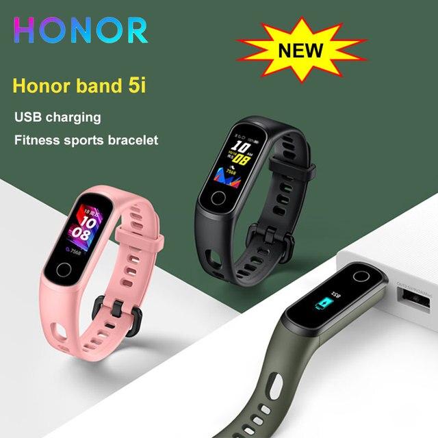 Смарт браслет Honor Band 5i, фитнес браслет с USB зарядкой, управлением музыкой, мониторингом кислорода в крови, для бега