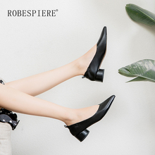 ROBESPIERE Women Pumps Soft Sheepskin Round heels 3.5cm Lady Casual Shoes Autumn New Pointed Toe Single Female A102