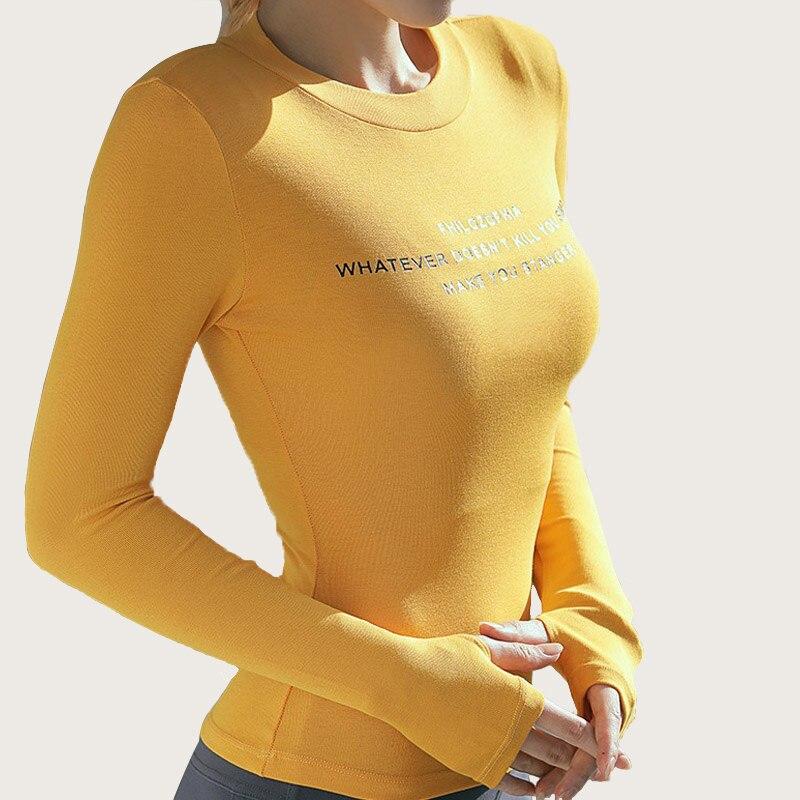 Mulheres de Manga Comprida Esporte Camisas Sólida Carta Impressão Ginásio Superior Alta Elástica Apertado Yoga Topo Mulher Correndo Camisetas Cor