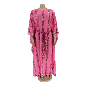 Image 4 - African Dresses For Women Dashiki Snake Pink African Clothes Bazin Broder Riche Sexy Slim Ruffle Sleeve Robe Evening Long Dress