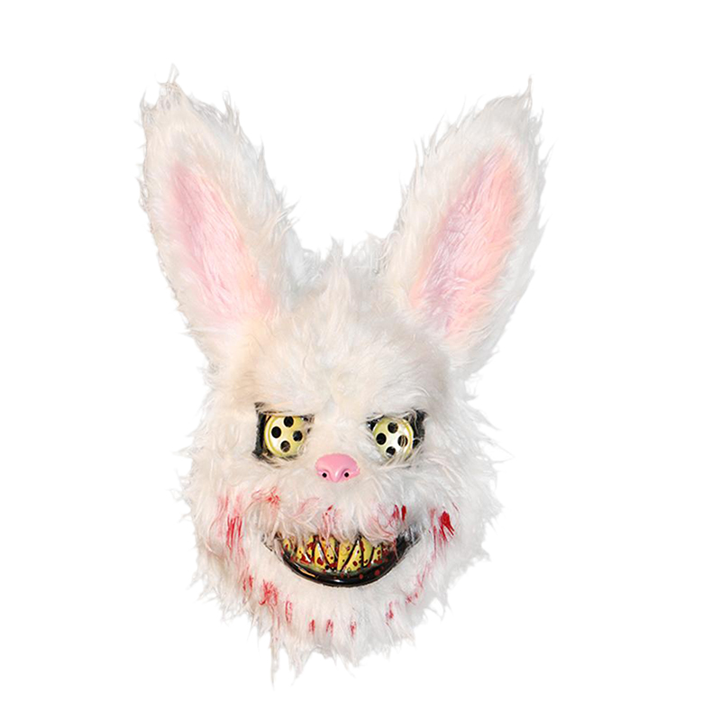 Halloween Mask Bloody Killer Rabbit Mask Halloween Plush Cosplay Horror Mask For Kids Adults Party Supplies Decoration Scary Pro