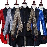 Magician Sequins Tuxedo Men Stage Performance Dress Coat Nightclub Bar Hosted The Vocal Chorus Conductor Blazer Jacket Suit Men