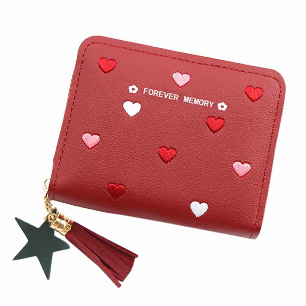 Mini Wallets for Women Coin Wallet Outdoor Fashion Cute Small Kids Women's Purse Trend Solid Color Fringed Leather Card Wallet