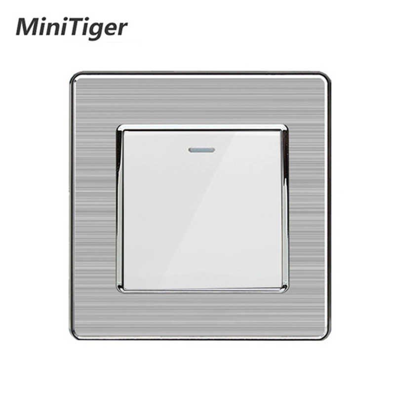 Wall Switches 1/2/3/4 Gang Button LED Lamp Light Switch On / Off Wall Switch Push Button Interruptor Stainless Steel Panel