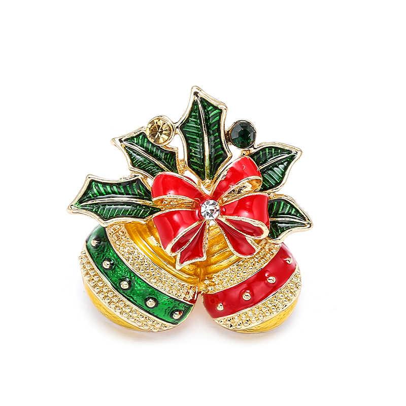 Yeni noel broşlar iğneler sevimli noel baba şapka eldiven Bells çorap Donuts şeker emaye Pin rozetleri broş kadınlar için takı hediye