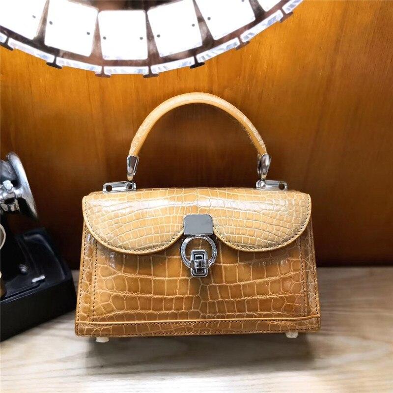 Bag Alligator Shoulder-Bag Handle Famous-Brand Crocodile Leather Women 100%Real