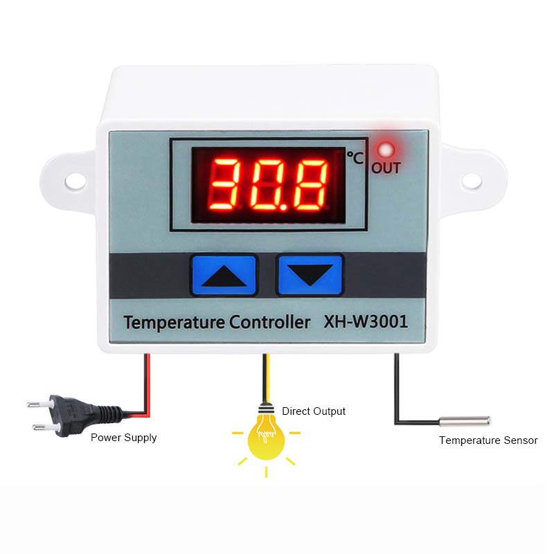 10A 12V 24V 110V 220VAC Digital LED Temperature Controller <font><b>XH</b></font>-<font><b>W3001</b></font> For Incubator Cooling Heating Switch Thermostat NTC Sensor image
