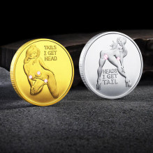 Sexy Woman Lucky Coin Tail I Get Head Commemorative Coin Collection Home Decoration Crafts Souvenirs Desktop Ornaments Gift