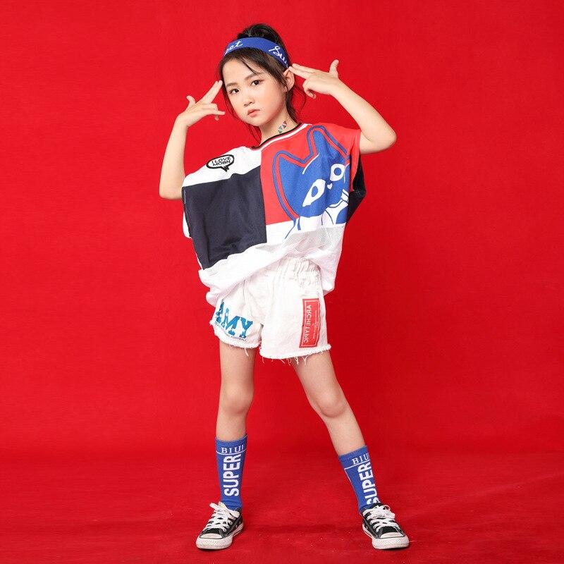 Children Jazz Dance Costume Girls Hip Hop Korean Of Tide Clothes Children Girls Hip-Hop Set T-Stage Show Costumes