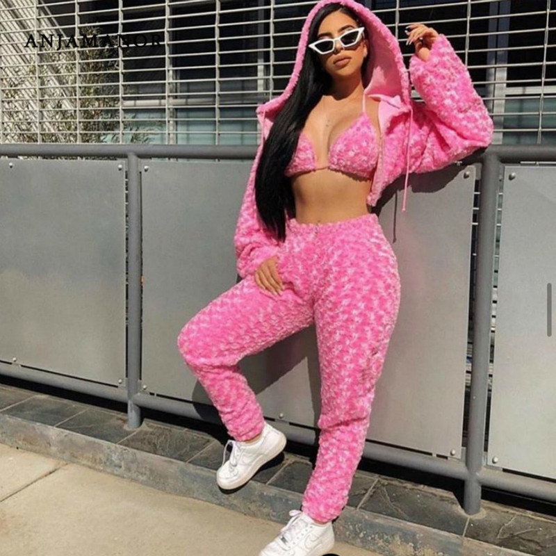 ANJAMANOR Fuzzy Pink Sexy 3 Peice Set Women Clothes 2020 Streetwear Rave Festival Club Wear Trendy Outfits Matching Sets D58BZ42