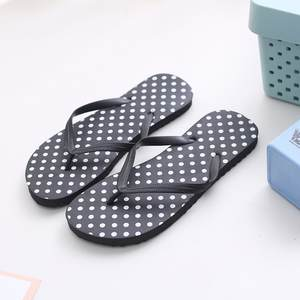 Sandals Women Flat Slides Slippers Flip-Flops Print Black Beach Summer Yellow Dot Round-Toe