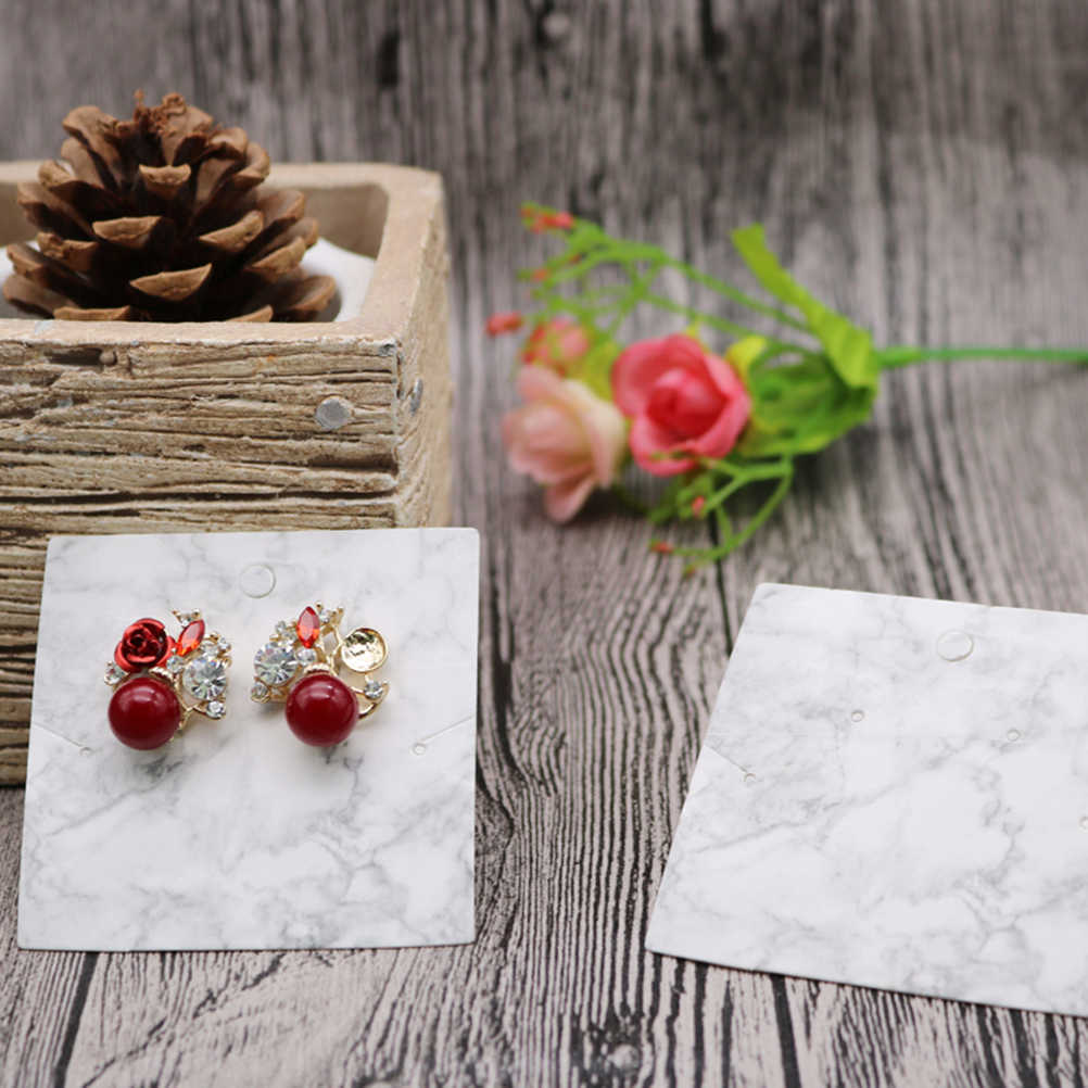 200PCS Simple Marble Pattern Practical Necklace Display Cards Hanging Earring Card Holder for Packaging Jewelry Accessories